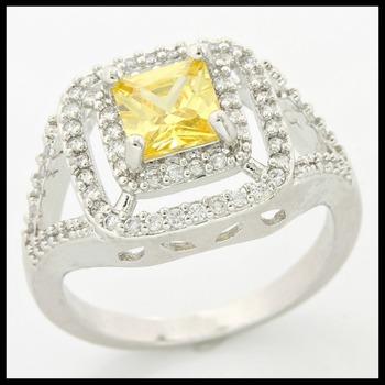 Citrine & White Sapphire Ring Size 7