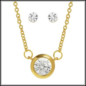 Classic Solitaire Necklace & Stud Earring Set, 1.05ctw White Cubic Zirconia (AAA Grade)