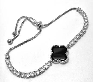 Clover Black Spinel & Diamonique Diamond Tennis Bracelet - Adjustable Designer Inspired 18k White Gold Over Hypoallergenic