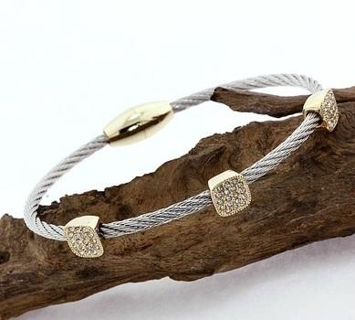 Cubic Zirconia Magnetic Clasp Cable Bracelet