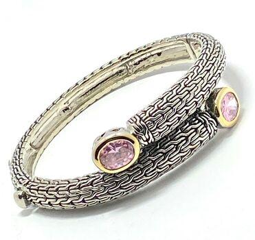 Cuff Bangle Pink Topaz Bracelet Two-Tone 14k Gold Over