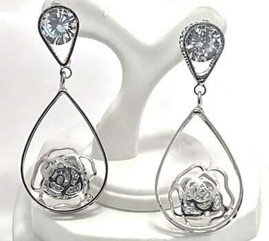 "Dangle Rose Earrings 29.0ctw White Diamonique 1 3/4"" Long"