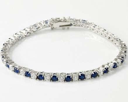 Dark Blue and White Sapphire Tennis Bracelet