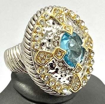 Designer 2.05ctw Blue Topaz & White Zircon Large Ring
