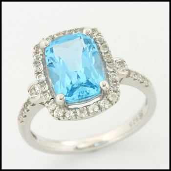 Designer Authentic ColoreSG by LORENZO 925 Sterling Silver Genuine Sky Blue Topaz Ring Size 7