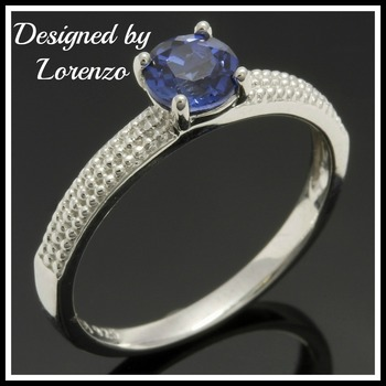 Designer Authentic ColoreSG by LORENZO Solid .925 Sterling Silver 0.66ctw Sapphire Ring Size 6