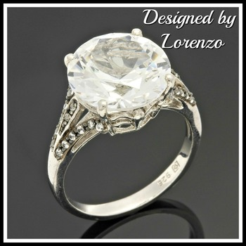 Designer Authentic ColoreSG by LORENZO Solid .925 Sterling Silver 8.04ctw White Sapphire Ring Size 6.75