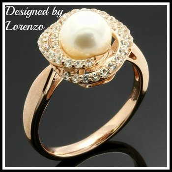 Designer Authentic ColoreSG by Lorenzo Solid .925 Sterling Silver, Freshwater Pearl & White Sapphire Ring sz 7