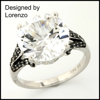 Designer Authentic ColoreSG by Lorenzo Solid .925 Sterling Silver White Sapphire Ring Size 7