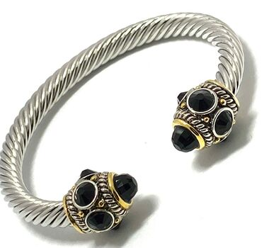 Designer Cable Cuff Bangle Black Spinel Bracelet Two-Tone 14k Gold Over