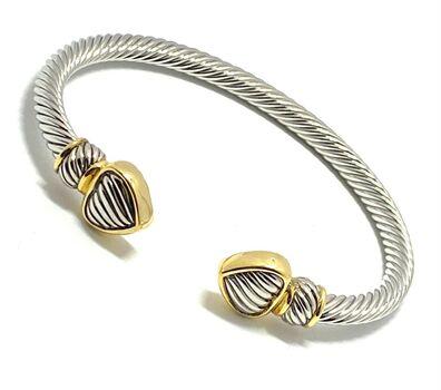 Designer Cable Cuff Bangle Bracelet Two-Tone 14k Gold Over