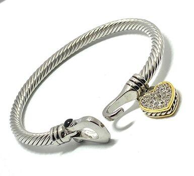 Designer Cable Cuff Bangle CZ & Black Spinel Bracelet Two-Tone 14k Gold Over