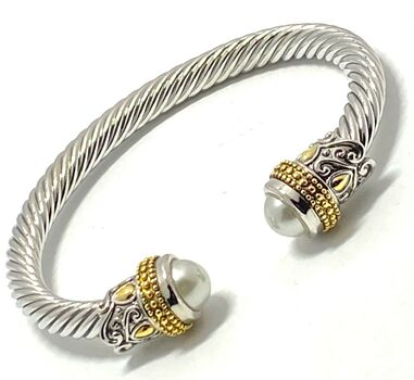 Designer Cable Cuff Bangle Pearl Bracelet Two-Tone 14k Gold Over