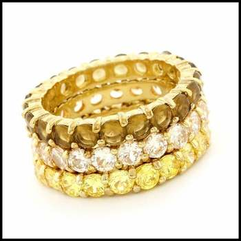 Designer Charles Winston Solid .925 Sterling Silver & Yellow Gold Overlay (AAA Grade) CZ's Set of Three Rings sz 9