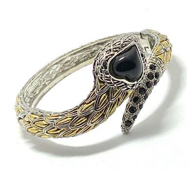 Designer Cuff Bangle Black Spinel Bracelet Two-Tone 14k Gold Over Hypoallergenic