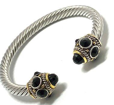 Designer Inspired Black Spine Cable Cuff Bangle Bracelet Two-Tone 14k Gold Over