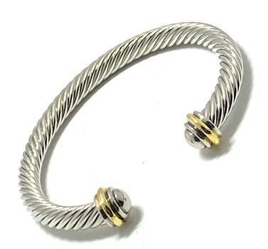 Designer Inspired  Cable Cuff Bangle Bracelet Two-Tone 14k Gold Over