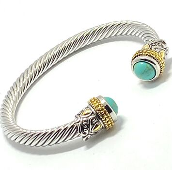 Designer Inspired Cable Cuff Bangle Turquoise Bracelet Two-Tone 14k Gold Over