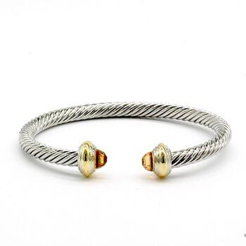 Designer Inspired Citrine Twisted Cable Bangle Cuff Bracelet