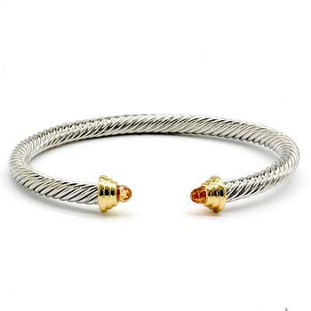 Designer Inspired Citrine Twisted Cuff Cable Bangle Bracelet