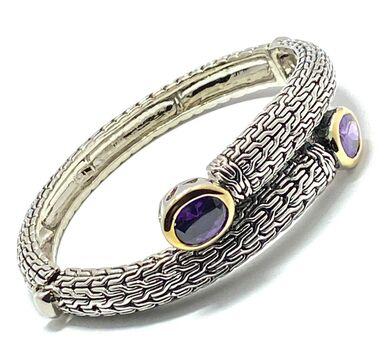 Designer Inspired Cuff Bangle Amethyst Bracelet Two-Tone 14k Gold Over