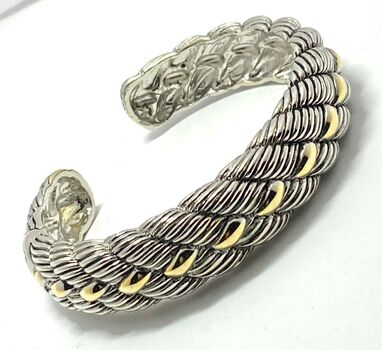 Designer Inspired Cuff Bangle Bracelet Two-Tone 14k Gold Over Hypoallergenic