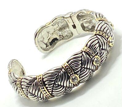 Designer Inspired CZ Cuff Bangle Bracelet Two-Tone 14k Gold Over Hypoallergenic