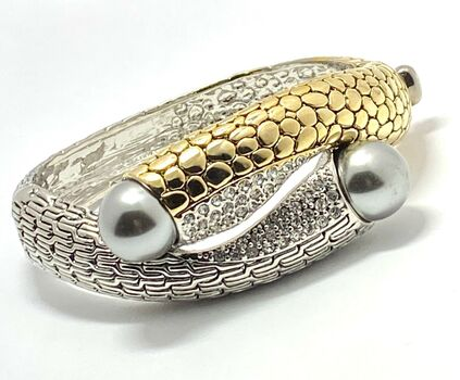 Designer Inspired Gray Pearl Cuff Bangle Bracelet Two-Tone 14k Gold Over Hypoallergenic Nickel Free