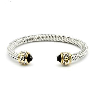 Designer Inspired Onyx Twisted Cable Bangle Cuff Bracelet