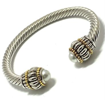 Designer Inspired Pearl Cable Cuff Bangle  Bracelet Two-Tone 14k Gold Over