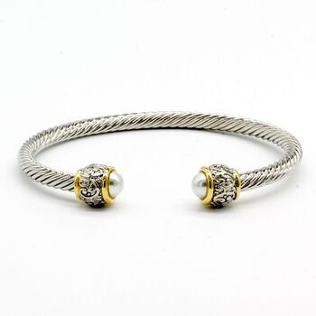 Designer Inspired Pearl Twisted Cable Bangle Cuff Bracelet
