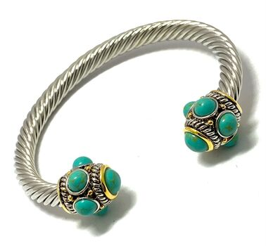 Designer Inspired Turquoise Cable  Bangle  Bracelet Two-Tone 14k Gold Over
