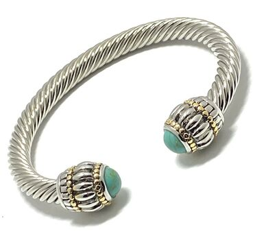 Designer Inspired Turquoise Cable Cuff Bangle Bracelet Two-Tone 14k Gold Over