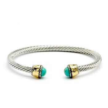 Designer Inspired Turquoise Twisted Cable Bangle Cuff Bracelet