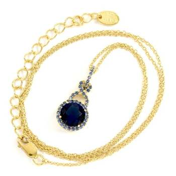 Designer KLEO Solid .925 Sterling Silver with Yellow Gold Overlay, 3.50ctw Sapphire Necklace