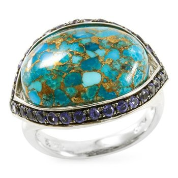 Designer LORENZO .925 Sterling Silver 13.14ctw Natural Bronze Cabochon Turquoise & Round Cut Iolite Ring Size 7