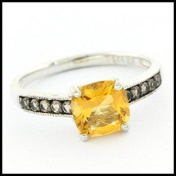 Designer LORENZO .925 Sterling Silver 14k White Gold Plated, 1.15ctw Genuine Citrine & 0.15ctw Genuine Smoky Quartz Ring Size 7