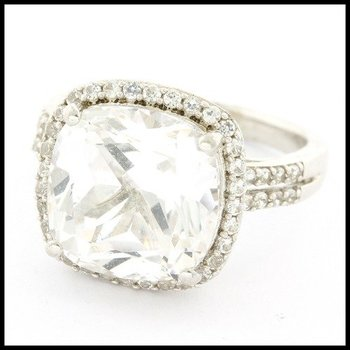 Designer LORENZO .925 Sterling Silver 14k White Gold Plated, 11.75ctw Genuine Diamonique Ring Size 7