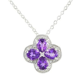 Designer LORENZO .925 Sterling Silver 14k White Gold Plated Created Amethyst & White Sapphire Necklace