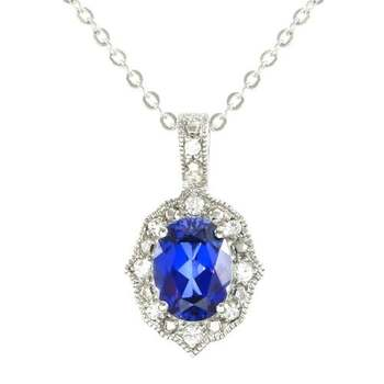 Designer LORENZO .925 Sterling Silver 14k White Gold Plated Created Blue & White Sapphire Necklace