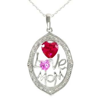 """Designer LORENZO .925 Sterling Silver 14k White Gold Plated Created Pink Sapphire & Created Ruby """"Love Mom"""" Necklace"""