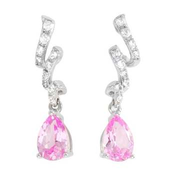 Designer LORENZO .925 Sterling Silver 14k White Gold Plated Created Pink Sapphire & White Sapphire Earrings