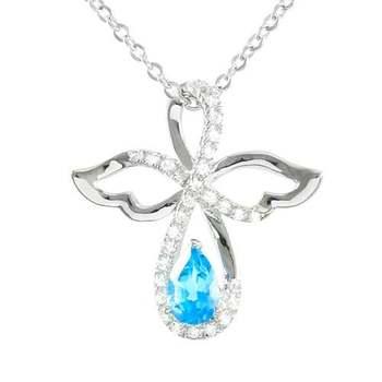 Designer LORENZO .925 Sterling Silver 14k White Gold Plated Genuine Blue Topaz & Created White Sapphire Necklace