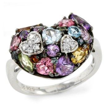 Designer LORENZO .925 Sterling Silver Created Multi Stone Women's Ring Size 7