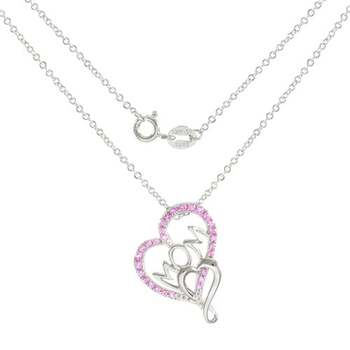 """Designer LORENZO .925 Sterling Silver Created Pink Sapphire Heart Shape """"Mom"""" Necklace"""