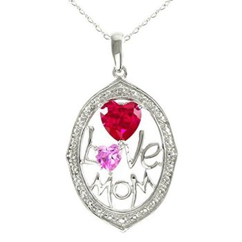 """Designer Lorenzo Sterling Silver 14k White Gold Finish Created Pink Sapphire and Created Ruby """"Love Mom"""" Necklace"""