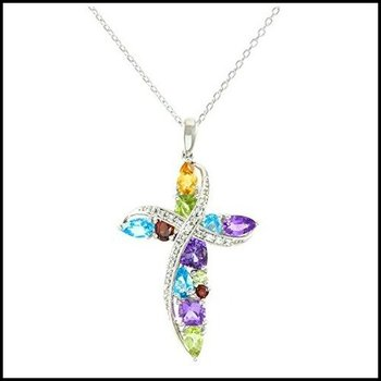 Designer Lorenzo Sterling Silver 14k White Gold Finish Genuine Multi-Gemstone Cross Necklace