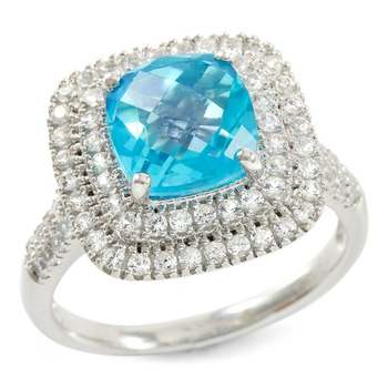 Designer LORENZO Sterling Silver 7mm Cushion Cut Created Paraiba Tourmaline & Created White Sapphire Ring Size 7