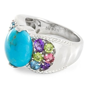 Designer Lorenzo Sterling Silver Natural Chinese Turquoise & Round Cut Multi Stones Ring, Size 8