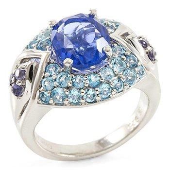 Designer Lorenzo Sterling Silver Natural Fluorite, Iolite & Licensed Swiss Blue Topaz Ring, Size 8